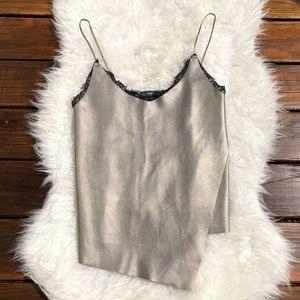 Zara Tank Top Faux-Leather Front Knit Back